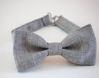 Mens bow tie, gray suiting bow tie, wedding bow tie, groom bow tie, groomsmen bow tie, ringboy bow tie, pageboy outfit, pre-tied bow tie