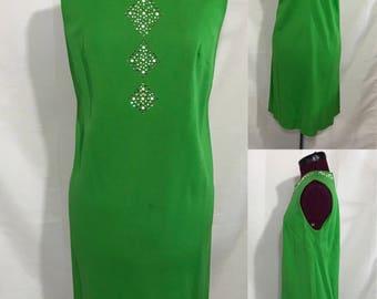 1960's | Vintage Green Dress | handmade with Stones