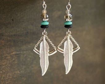 Turquoise Feather Earrings Silver Feather Earrings Geometric Feather Earrings Tribal Feather Earrings Turquoise Feather Jewelry Boho Feather