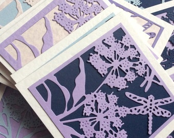 Flower greetings card dragonfly card diecut card blank inside card wedding card, paper art card,