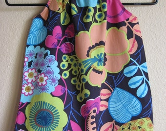 Ready to Ship, Size 18m/24m  Ruffled Neck Dress, Bright Bold Floral