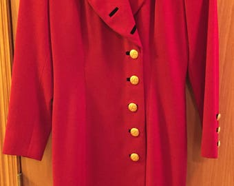 Escada iconic vintage red button up dress!