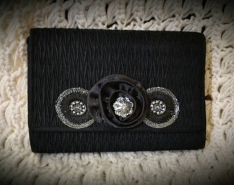 After Life Accessories: Repurposed Vintage The Crawford Black Clutch Purse