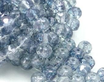 25 Czech Glass Firepolish Gemstone Donuts - 4x6mm - Luster Transparent Blue CZF096