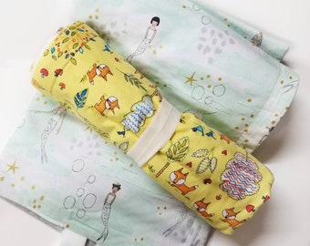 Enchanted Prints: Changing Pad, Waterproof Travel Size Changing Pad, Baby Changing Mat, On the Go Changing Mat, Fox, Mermaid