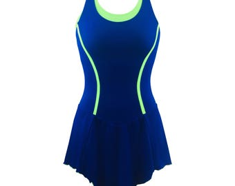 2018 Figure Skating Dresses - Blue & Green - Training - Testing - Attached Bra and Panty - Fully Lined - Easy returns - Free Shipping