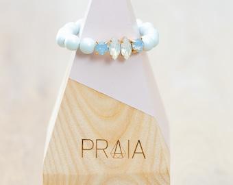 Pastel blue hadmade Swarovski pearl bracelet with swarovski crystals