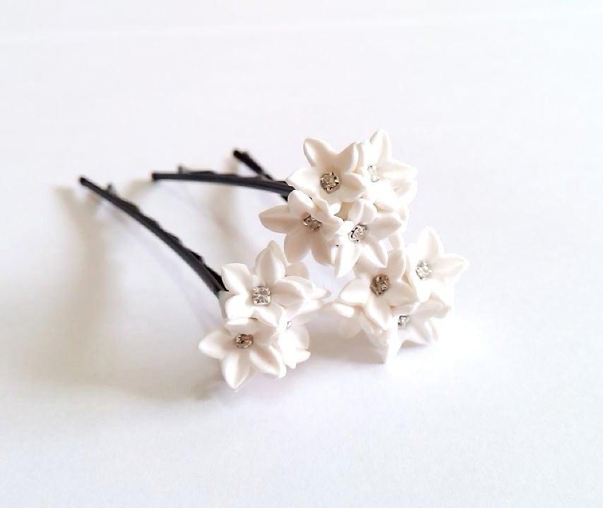 Small white flower hair clips white wedding flower hair zoom mightylinksfo