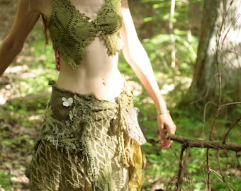 Mossy Woodland nymph wild spirit raw silk skirt