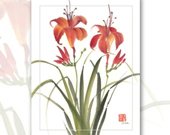 "Watercolor Chinese Brush Painting Cards  ""Day Lillies 2"""