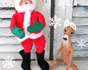 Beautiful Vintage Annalee Felt Santa & Reindeer