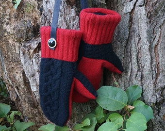 Cabled Black and Red Sweater Mittens