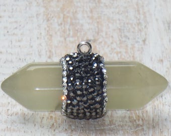Pave Cz Crystal Yellow Jade Double Terminated Nugget Pendant, Jade Pendant, CZ Crystal Pendant