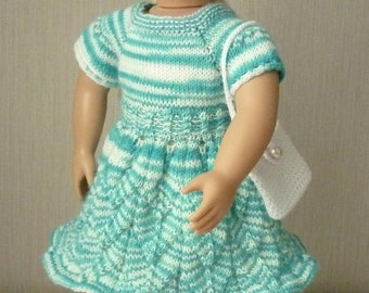 """18"""" Doll Clothes Knit crochet Dress Buttons in Back in Blue  white, beret,  bag. Handmade to Fit American Girl and other Dolls Ready to ship"""