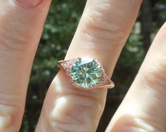 Simple Elegance! 1.92 ct Aqua Peridot Color  MOISSANITE Ring  14 kt Rose Gold Over 925 Silver 8.37 mm SIZE 5 cz accents