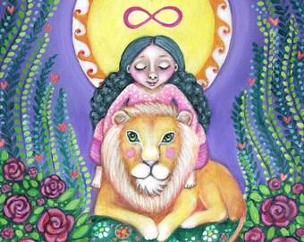 Girl and Lion Wall Art Print StrengthTarot Wall Art Lion Painting Spiritual Gift For Friend Girls Room Wall Decor Children Room Art