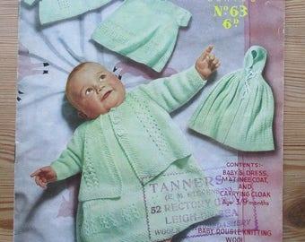 Baby vintage knitting pattern, original vintage booklet, sirdar sunshine series 63, baby dress, matinee coat, carrying cloak, cape, dk yarn