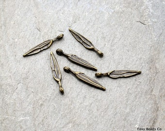 10 PC Feather Charms, Dainty Charms, Antique Bronze Charm, Feather Necklace, Leaf Charm, 19mm, Metal Charms, Mini Charms AB13