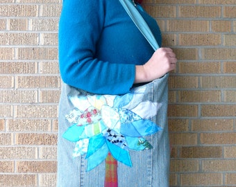 Upcycled Market Tote - Light Blue Tree from Fabric Scraps on Recycled Denim Jeans