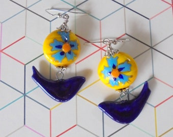 Navy Blue, Yellow and Aqua Bird and Flower Earrings (4462)