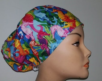 Euro Style Bright Seahorses Medical Surgical Scrub Hat Vet Nurse Chemo CRNA Women Surgery Caps Chemo