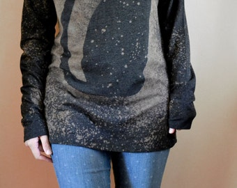 Black Cat Shirt, Long Sleeve Shirt, Galaxy Cat Shirt, Space Cat, Cat Shirt Women, Christmas Gifts for Women, Bleached Shirt
