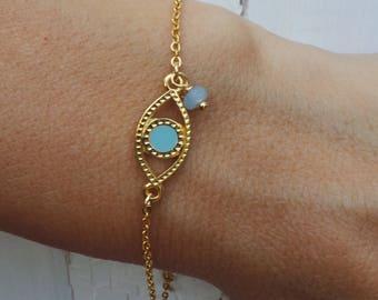 Evil eye bracelet. Dainty evil eye bracelet. Greek evil eye charm bracelet. Summer bracelet, Stacking bracelet.