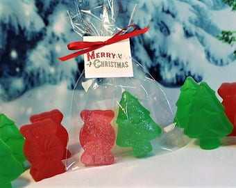 5 Christmas Soap favors, 10 Holiday Favors, Christmas Tree Soap Favors, Stocking Stuffers, Children Christmas Favors, Christmas Fun Favors