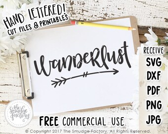 Wanderlust SVG Cut File, Travel SVG, Silhouette, Cricut, Expression, Hand Lettered, Wander, Cutting File, Download, Quote SVG, Globe, Arrow