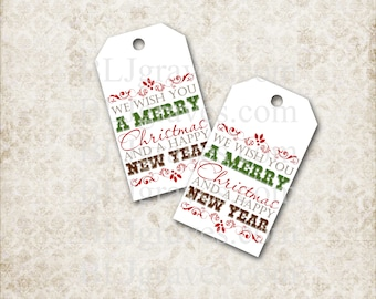 Printable Christmas Gift Tags Christmas Party Favor Word Art Treat Bag Tags Handmade TC003