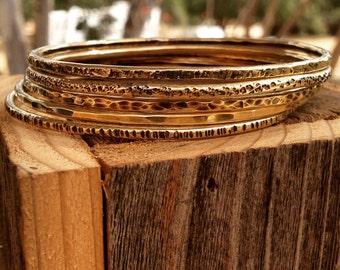 Textured Brass Bangles set of 5