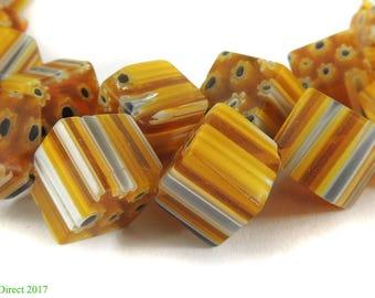 Cube Trade Beads Yellow Czech African 29 Inch 115467