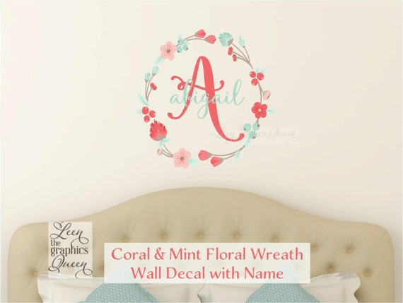 Coral Mint Wall Decal Monogram And Name With Floral Wreath - Coral monogram wall decal