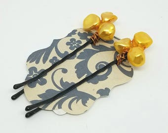 Cute Decorative Hair Pins with Wire Wrapped Yellow Freshwater Pearls
