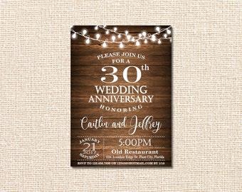 Wedding Anniversary Invitation, 30th Anniversary Invitation, 30th Wedding Anniversary Invitation, 30th Wedding Anniversary, wooden