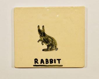 Handmade ceramic rabbit tile