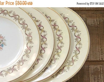 ON SALE Wedgwood Sandringham Pink Bread and Butter Plates Set of 4 English Transferware Plates Ironstone, Tea Party Replacement China
