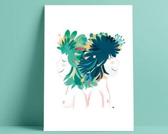 pareja selvaje, pelo selva, pelo florido