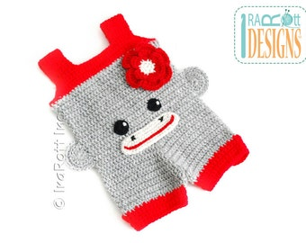 Crochet Sock Monkey Baby Romper READY to SHIP