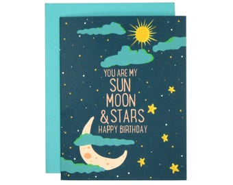 You Are My Sun, Moon, and Stars Happy Birthday Card | Illustrated Card | Folk and Fauna Co.