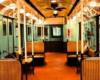 New York City Photography - New York City Subway Car - Green and Orange - Vintage NYC - NYC Subway Art - boys room decor - mancave art