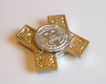 Brass Aztec Detailed Metal Fidget Finger Hand Spinner EDC Pocket Toy
