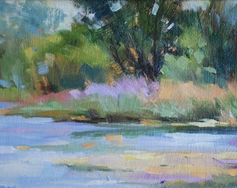 Landscape Oil Painting. Spring Trees by River or Lake. Original Impressionistic Art by Frankie Johnson.  Small Nature Painting.