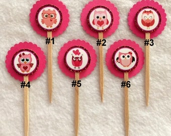 Set Of 12 Valentines Owls Cupcake Toppers (Your Choice Of 12)