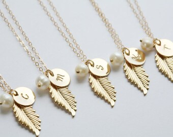 Set of 4,Gold Feather 14k Gold Filled Necklace,Custom initial birthstone,Fall Autumn Wedding,Bridesmaid Gifts,Pearl
