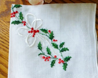 Vintage Cotton Hankie Bows & Holly Hankie Handkerchiefs Vintage Accessories Hankie Vintage Hankie By Vintagelady7