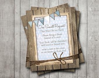 Boy Baby Shower Book Request Rustic Wood Boy Blue Bunting Banner Vintage Shabby Printable Instant Download Digital File
