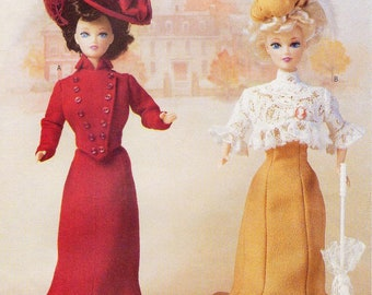 Butterick Sewing Pattern 6374 - The Delineator Girls - Circa 1900 Doll Clothes Pattern - For 11 1/2 Inch Dolls - Collectible Doll Clothes