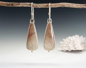 Willow Creek Jasper, Jasper Earrings, Dangle Earrings, Sterling Silver, 14kt Gold, Elegant, Sage Green, Terra Cotta SALE