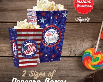 4th of July Popcorn Box, Printable 4th of July Popcorn Boxes, 4th of July Birthday decoration, instant download, DIY, 4th of July Party